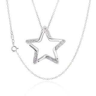 Sterling Silver Round Cubic Zirconia Cut-out Star 18-inch Necklace