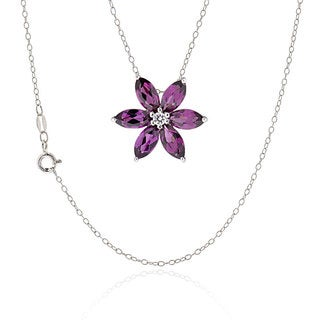 Sterling Silver Marquise Rhodolite Flower Pendant Necklace (China)