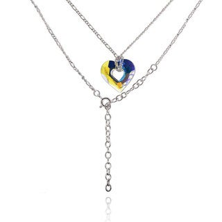 Sterling Silver Heart Crystal 17-inch Necklace with 3-inch Extension