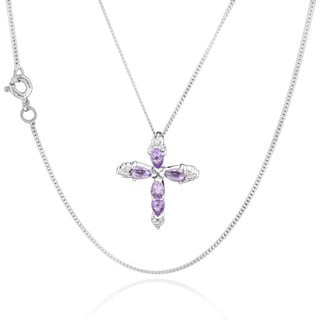 Sterling Silver Pear Amethyst Cross 18-inch Necklace (China)