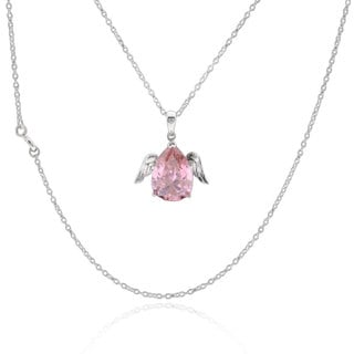 Sterling Silver Pear Cubic Zirconia Angel Wings Necklace 17-inch Chain