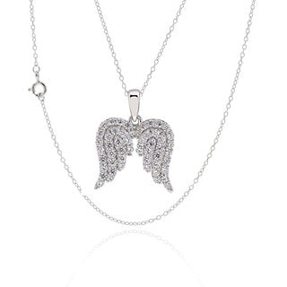 Sterling Silver Cubic Zirconia Angel Wings Necklace 17-inch Chain (China)