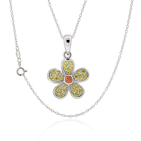 Sterling Silver Round Cubic Zirconia Flower 18-inch Necklace (China)