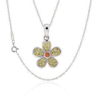 Sterling Silver Round Cubic Zirconia Flower 18-inch Necklace