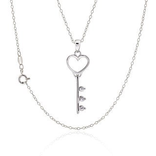 Sterling Silver Cubic Zirconia Heart Key 18-inch Necklace