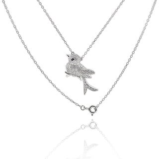 Sterling Silver Round Cubic Zirconia Bird 18-inch Necklace (China)