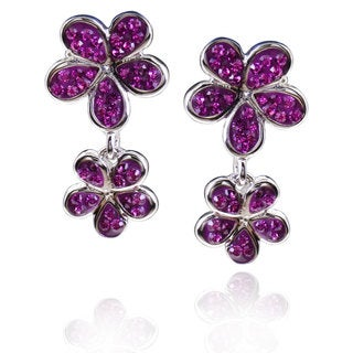 Sterling Silver Round Crystal Crystal Double Flower Earrings (China)