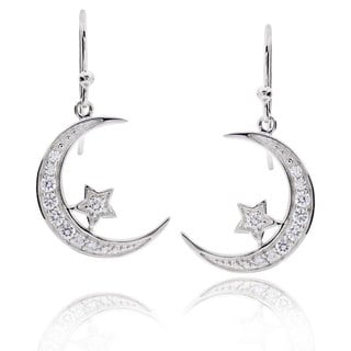 Sterling Silver Round Cubic Zirconia Crescent Moon and Star Dangle Earrings (China)