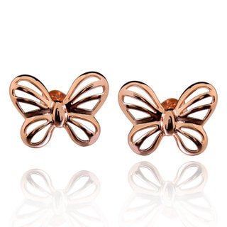 Sterling Silver Rose Gold Plated Cut-Out Butterfly Stud Earrings
