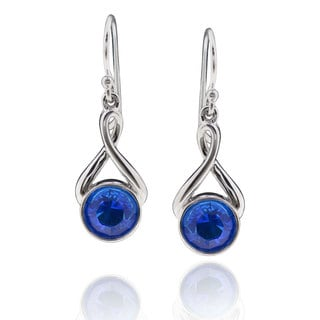 Sterling Silver Round Blue Crystal Dangle Earrings