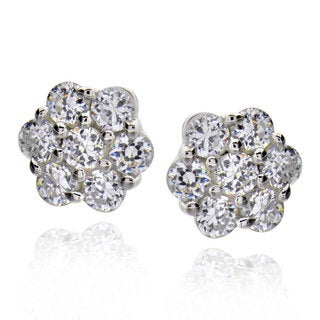 Sterling Silver Cubic Zirconia Flower Stud Earrings (China)