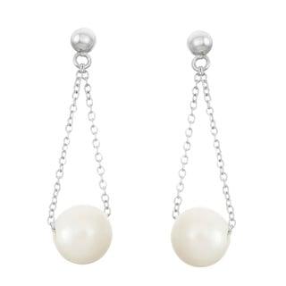 La Preciosa Sterling Silver 10mm Freshwater Pearl Dangle Earrings (10-11mm)