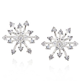 Sterling Silver Round-cut Cubic Zirconia Snowflake Stud Earrings (China)