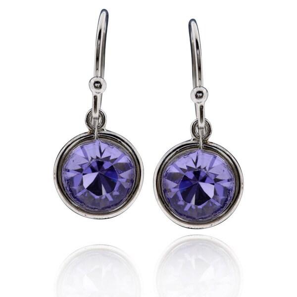 42fa362d8 Shop Sterling Silver Round Purple Crystal Dangle Earrings - On Sale ...