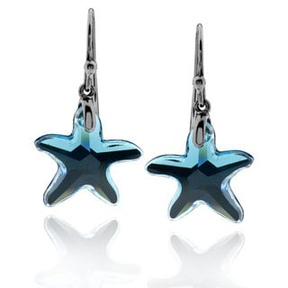 Sterling Silver Black Rhodium-plated Starfish Crystal Dangle Earrings (China)