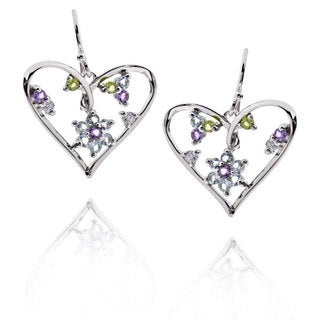 Sterling Silver Blue Topaz/ Amethyst/ Peridot Heart Earrings (China)