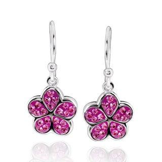 Sterling Silver Round Crystal Crystal Flower Dangle Earrings