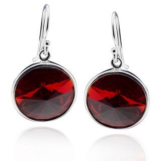 Sterling Silver Round-cut Crystal Dangle Earrings (China)
