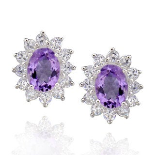 Sterling Silver Oval Amethyst and Cubic Zirconia Stud Earrings (China)