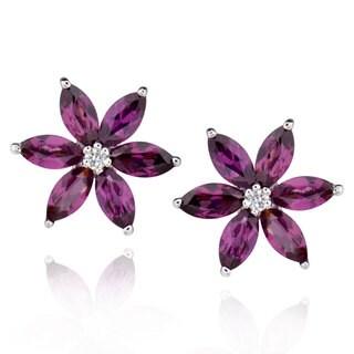 Sterling Silver Marquise Rhodolite Stud Earrings (China)