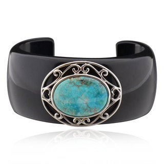 Sterling Silver Oval Turquoise Bangle (China)
