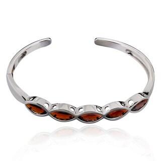 Sterling Silver Marquise Garnet Bracelet (China)