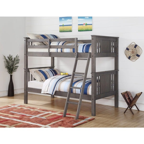 Shop Donco Kids Princeton Slate Grey Twin Over Twin Bunk Bed On