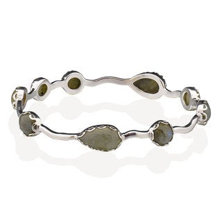 Women's Sterling Silver Pear Labradorite Cuff Bracelet (China)