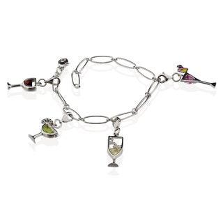 Sterling Silver 'Happy Hour' Adjustable Charm Bracelet (China)