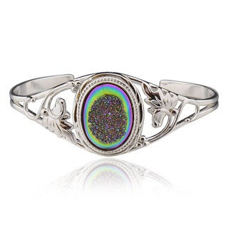 Sterling Silver Multi-colored Oval Druzy Bracelet (China)
