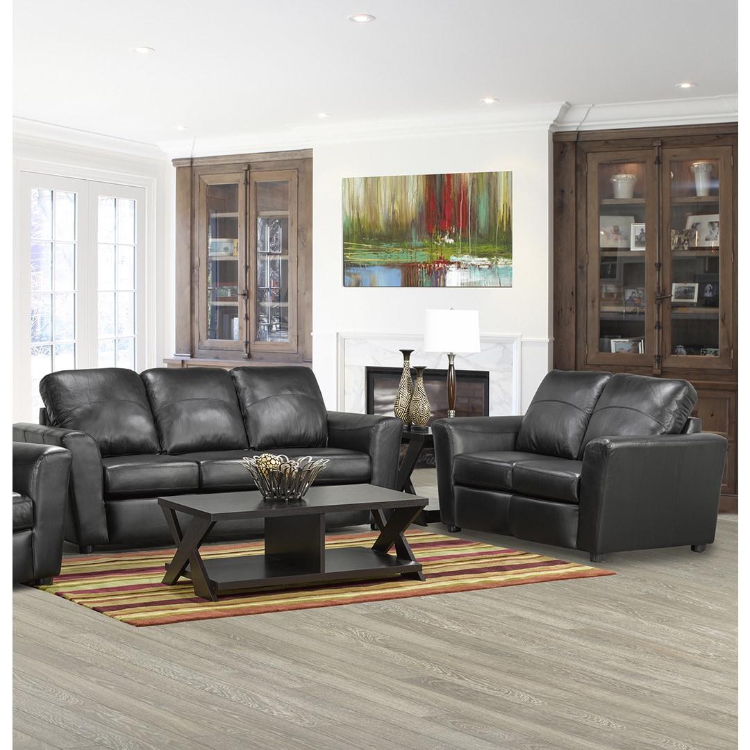 Coja Augusta Italian Leather Sofa and Loveseat Set (Black)