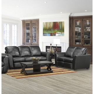 Augusta Italian Leather Sofa and Loveseat Set