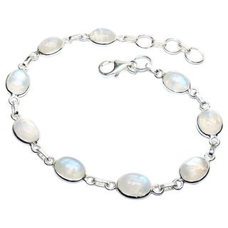 Handcrafted Sterling Silver Rainbow Moonstone Bracelet (India)
