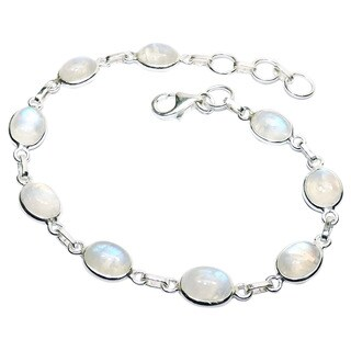 Handcrafted Sterling Silver Rainbow Moonstone Bracelet (India) - White