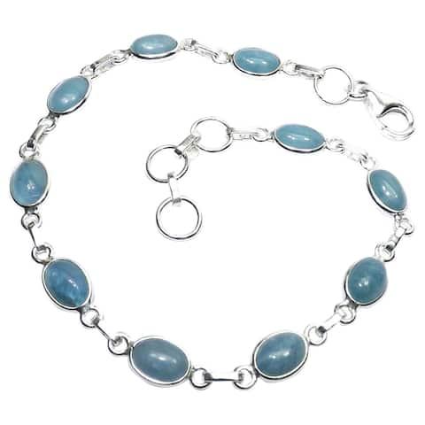 Handcrafted Sterling Silver Aquamarine Bracelet (India)