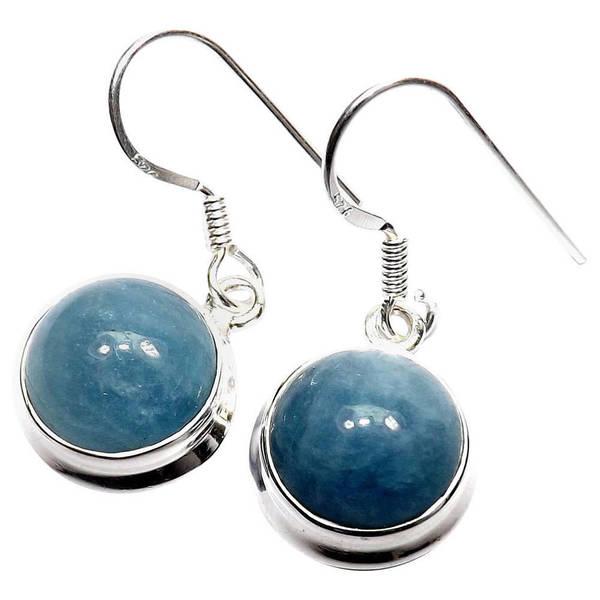Handmade Sterling Silver Aquamarine Earrings India Blue
