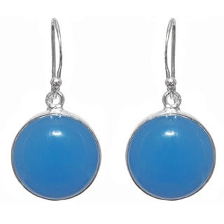 Handcrafted Sterling Silver Blue Chalcedony Earrings (India)
