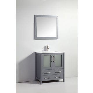 "30"" DARK GRAY SOLID WOOD SINK VANITY WITH MIRROR-NO FAUCET"