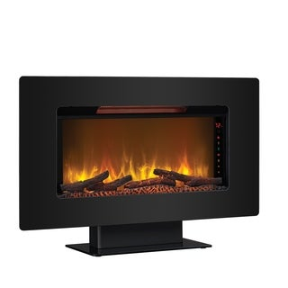 "Elysium 36"" Wall Mounted Infrared Quartz Fireplace, Black Glass Frame"