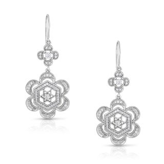 Eloquence 14k White Gold 3/4ct TDW Diamond Floral-Motif Dangling Earrings (H-I, I1-I2)