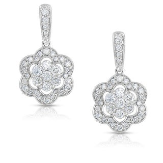 Eloquence 14k White Gold 1ct TDW Diamond Floral-Motif Dangling Earrings (H-I, I1-I2)