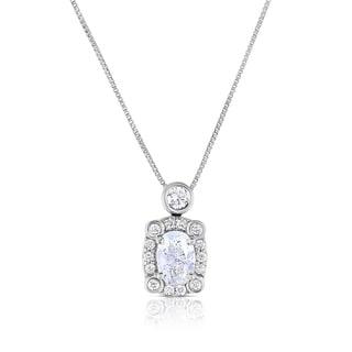 Eloquence 14k White Gold 4/5ct TDW Diamond Halo Pendant (H-I, I1-I2)