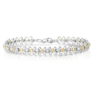 Eloquence 14k Two-Tone Gold 5/8ct TDW Diamond Motif Station Bracelet (H-I, I1-I2)