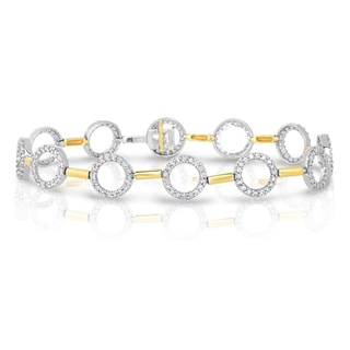 Eloquence 14k Two-Tone Gold 1 1/2ct TDW Diamond Round Bracelet (H-I, I1-I2)