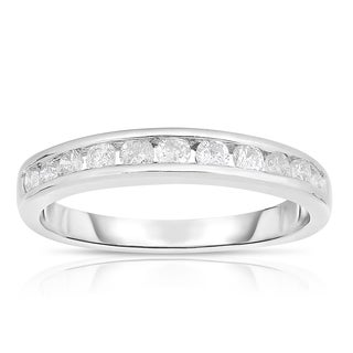 Eloquence 10k White Gold 1/2ct TDW Diamond Single-Row Band (J-K, I2-I3) - White J-K