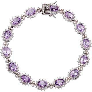 Sterling Silver 1/4ct TDW Diamond and Amethyst Bracelet
