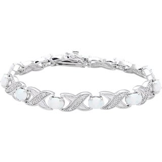 Sterling Silver 1/4ct TDW Diamond and Created Opal Bracelet
