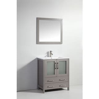 "30"" LIGHT GRAY SOLID WOOD SINK VANITY WITH MIRROR-NO FAUCET"