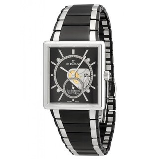 Edox Men's Black and Silvertone Watch
