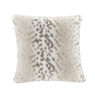 Madison Park Signature Geneva Luxury Faux Fur 20-inch Square Pillow with Feather Down Fill